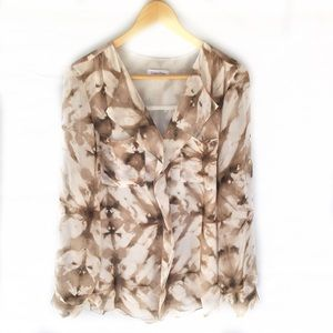 Calvin Klein blouse sheer tunic brown tie dye